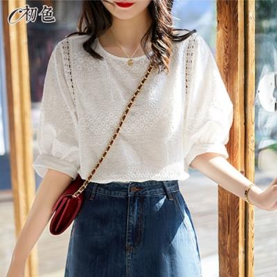 初色  蕾絲刺繡泡泡袖上衣-白色-(M-2XL可選)
