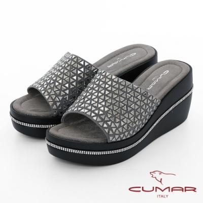 【CUMAR】情迷哈瓦那 - 三角排列鑽一片式厚底台拖涼鞋-灰