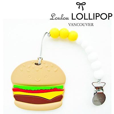 加拿大Loulou lollipop加拿大 嬰幼兒造型 固齒器組/奶嘴鍊夾-微笑漢堡堡
