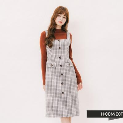 H:CONNECT 韓國品牌 女裝 - 清新格紋排釦洋裝 - 藍