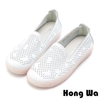 Hong Wa 簡約幾何菱形沖孔牛皮樂福鞋 - 白