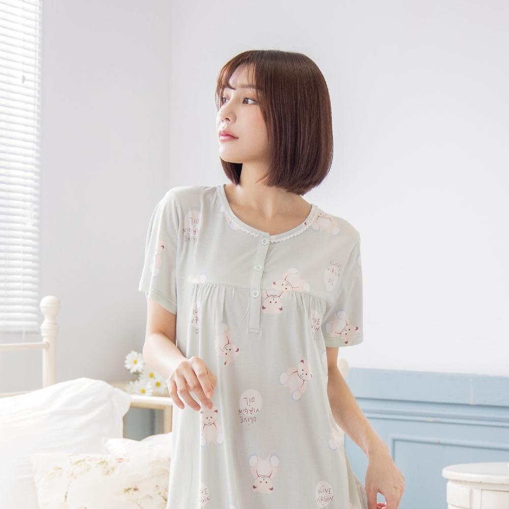 RoseMony羅絲夢妮 - 可愛小熊短袖半開釦洋裝睡衣(QQ綠) (QQ綠)