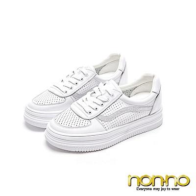 nonnon 流線型曲線 柔軟皮革厚底休閒鞋 銀