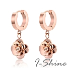 I-Shine-花好月圓-西德鋼-精緻立體小花吊墜圓型耳環DA39