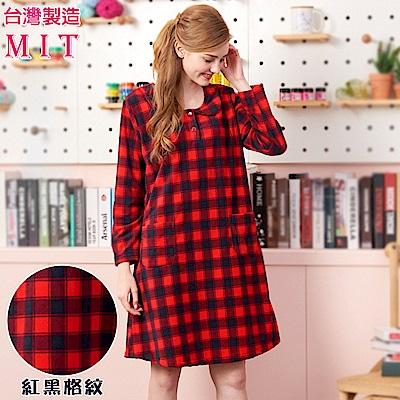 睡衣 蕾妮塔塔 簡約紅黑大格紋 刷毛長袖連身睡衣居家服(75217-8)台灣製造