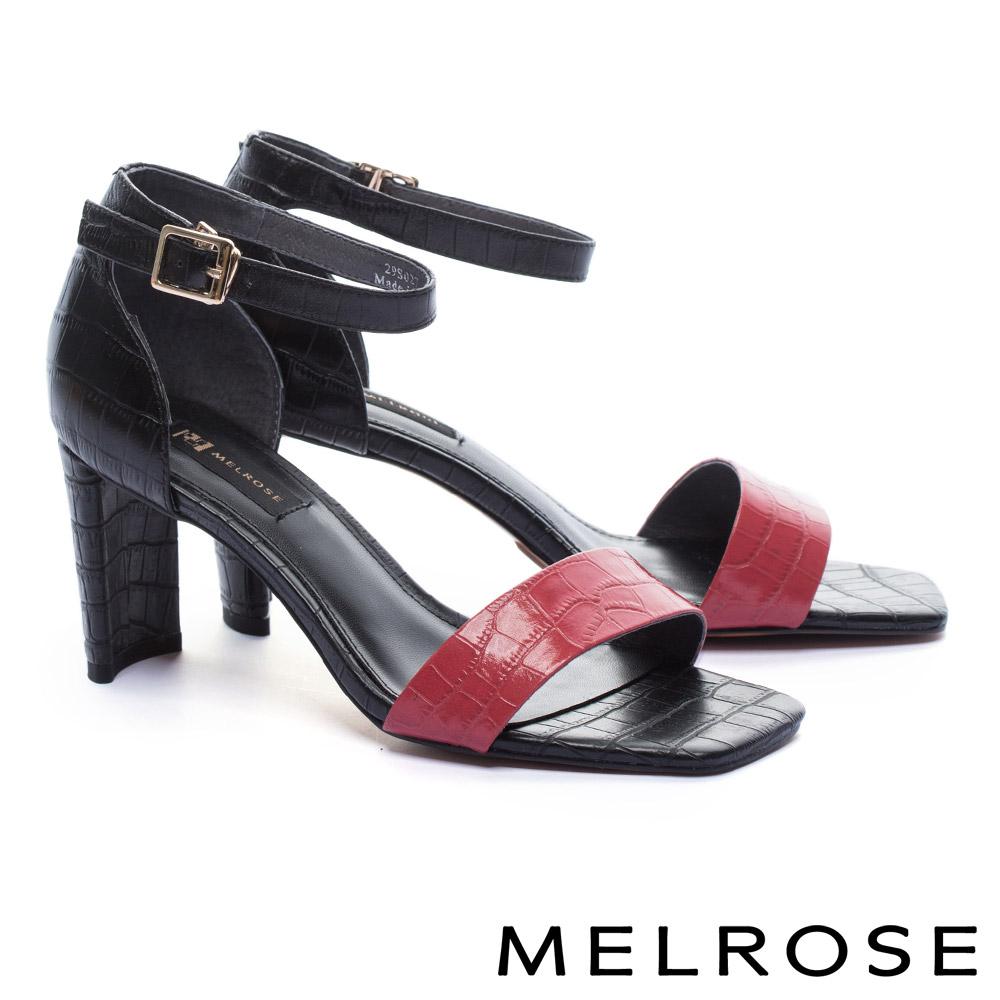 涼鞋 MELROSE 摩登撞色一字鱷魚壓紋牛皮繫帶方高跟涼鞋-紅