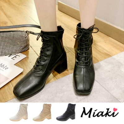 Miaki-短靴.韓風方頭綁帶粗跟踝靴