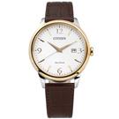 CITIZEN 光動能藍寶石水晶玻璃日本製造牛皮手錶-白x香檳金框x深褐/40mm