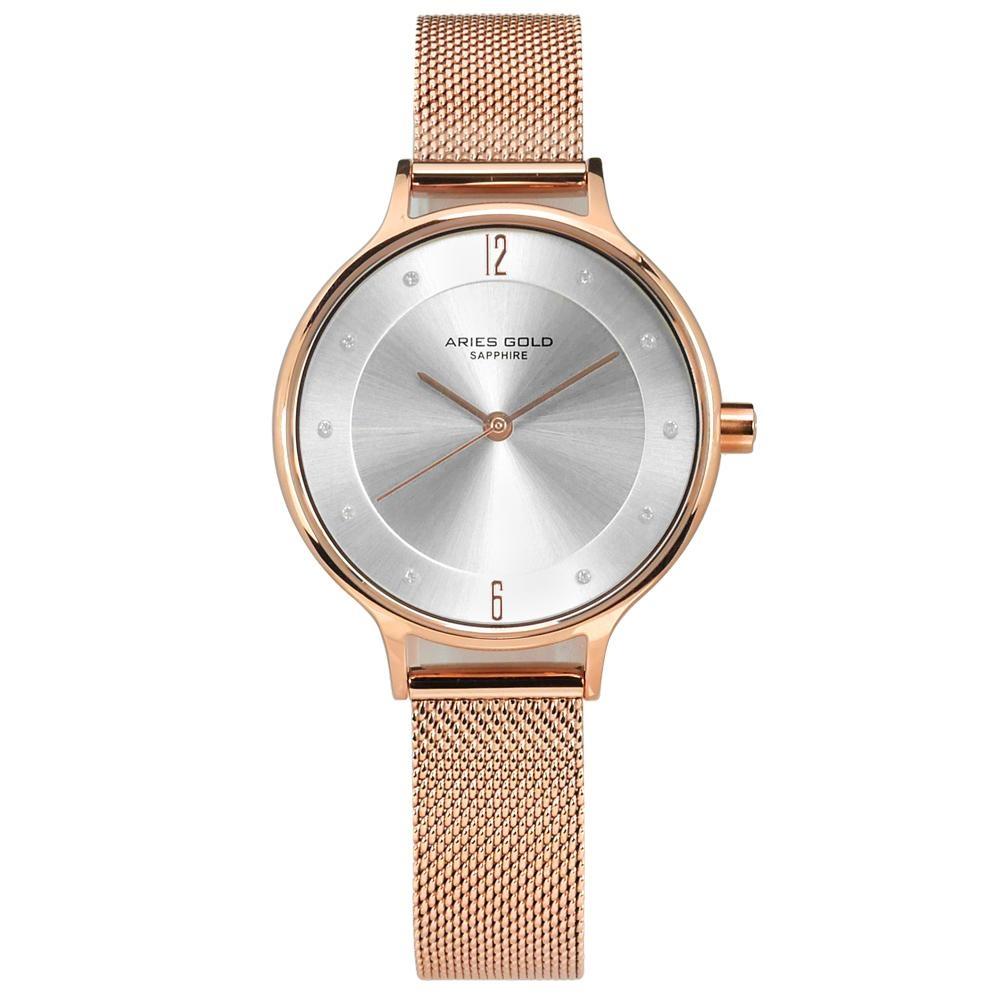ARIES GOLD 典雅 晶鑽 藍寶石水晶玻璃 米蘭編織不鏽鋼手錶-銀x玫瑰金/30mm