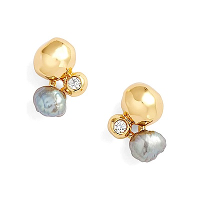 GORJANA 立體金塊耳環X優雅圓鑽耳環X氣質灰珍珠耳環 Vienna Shimmer