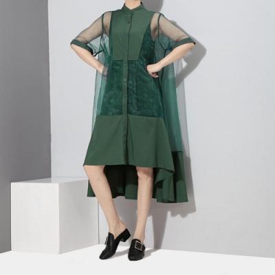 優雅素色背心網紗洋裝兩件套洋裝F(共二色)-CLORI