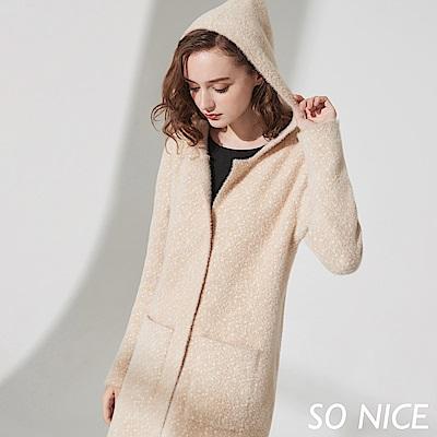 SO NICE氣質毛絨感連帽針織外套