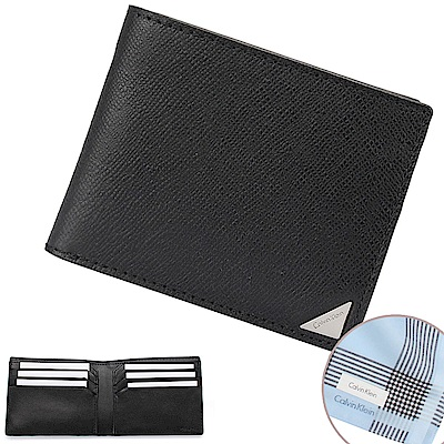Calvin Klein 經典鐵牌LOGO防刮多卡短夾-黑色(加贈帕巾)