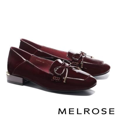 低跟鞋 MELROSE 經典質感蝴蝶結全真皮方頭低跟鞋-紅