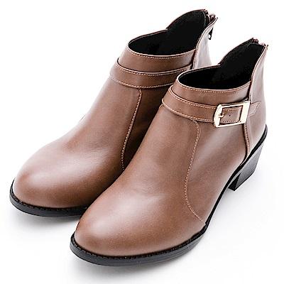 River&Moon短靴-斜口方扣後拉鍊粗跟短靴 咖棕