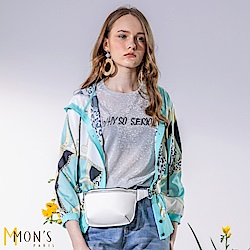 MONS 金屬風名品拼接花布連帽外套