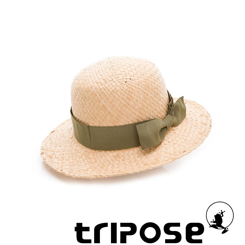 tripose 都會清新-100% Raffia入門款圓頂寬飾帶草帽(飾帶-草綠)