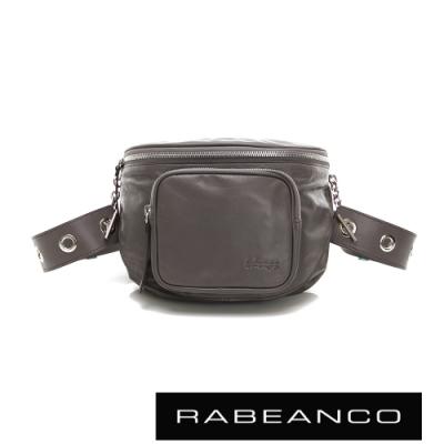 RABEANCO INA牛皮T型鏈條寬背帶斜背/腰包(大) 深灰