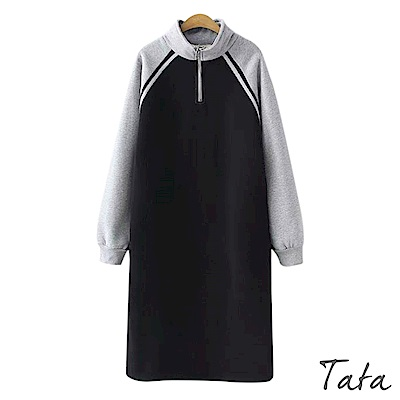 半高領撞色薄絨洋裝 共二色 TATA