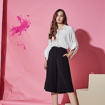 Chaber巧帛 時尚簡約OL必備造型百搭西裝寬褲裙-黑