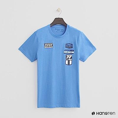 Hang Ten - 男裝 - 有機棉-有機棉-純色賽車logo棉T - 藍