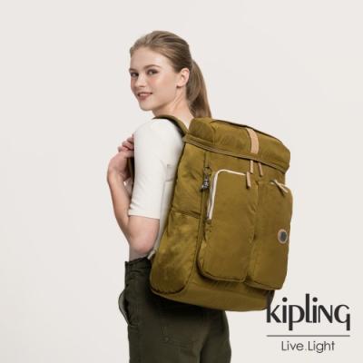 Kipling 低調皮革沉穩個性棕褐色大容量機能後背包-SHASTA