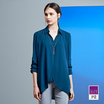 ILEY伊蕾 素色雪紡V領假兩件上衣(藍)