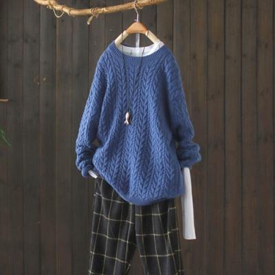素色麻花紋螺紋圓領毛衣寬鬆加厚長袖針織衫-設計所在
