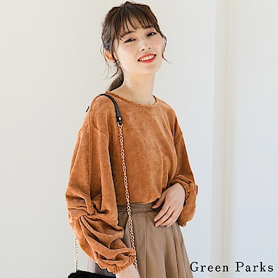 Green Parks 扭結造型袖絲絨圓領上衣