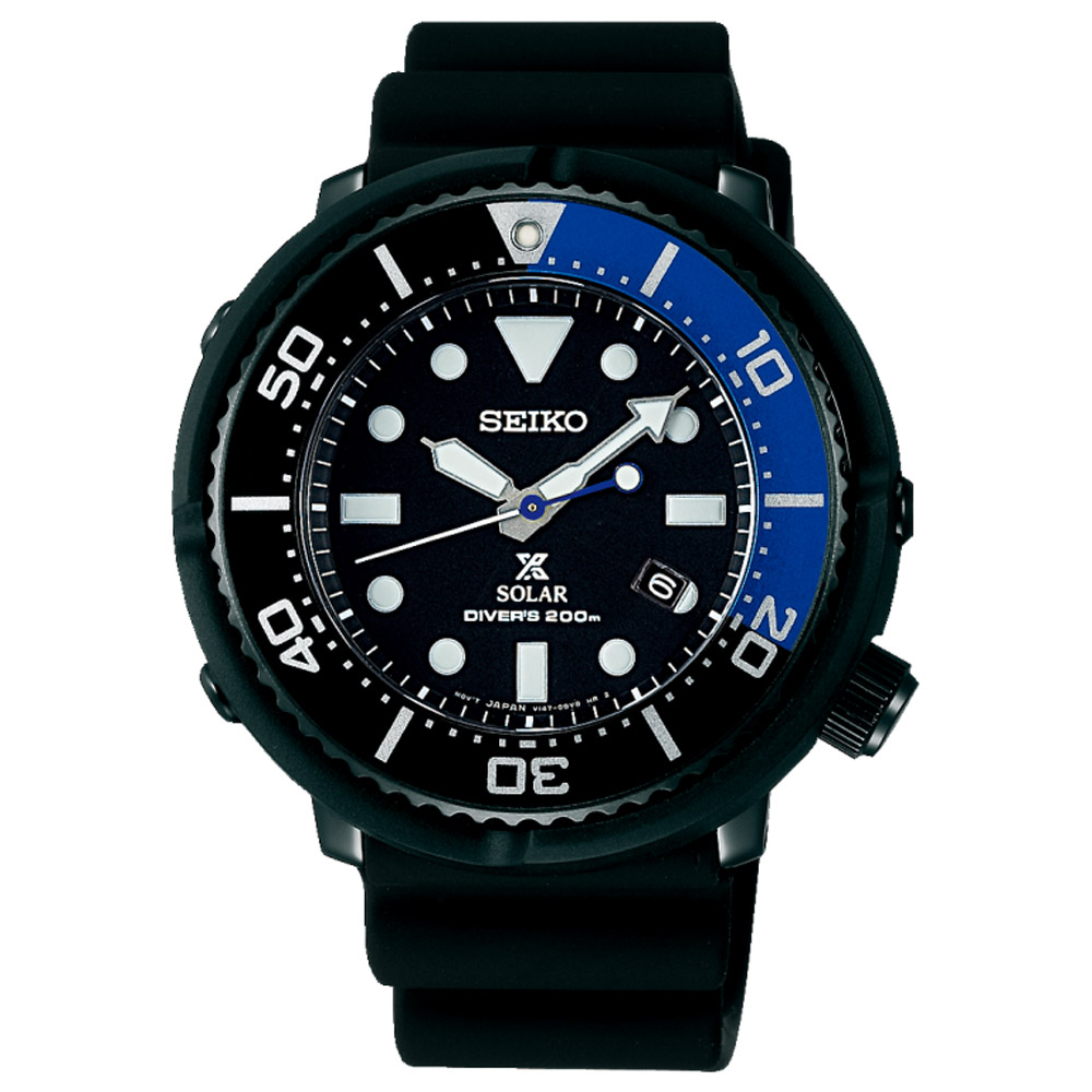 SEIKO精工 Prospex 太陽能200米潛水錶(SBDN045J)-黑/45.8mm