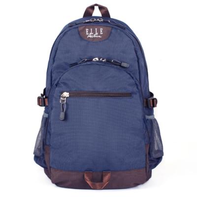 ELLE Active 格紋系列-後背包-大-深藍色