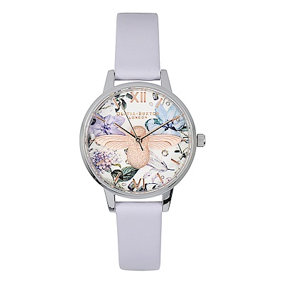 Olivia Burton 英倫復古手錶 3D立體蜜蜂 粉紫色真皮錶帶銀框30mm