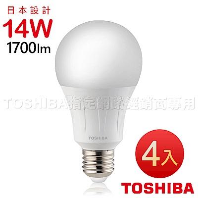TOSHIBA東芝 14W廣角型LED燈泡/高效球泡燈-白光4入