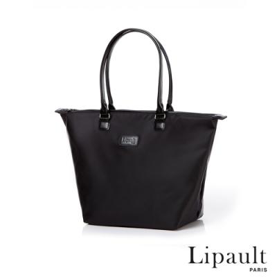 法國時尚Lipault 肩背手提兩用托特包M(耀岩黑)