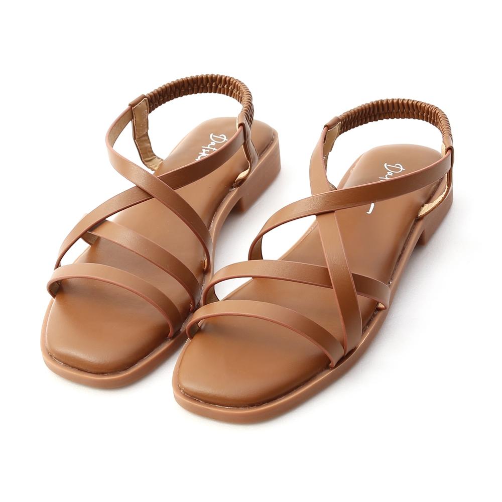 D+AF 舒適涼感.棉花糖軟墊交叉涼鞋*棕