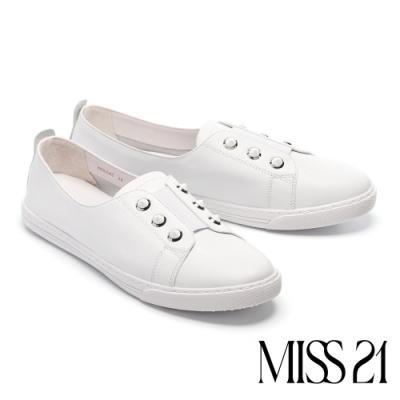 休閒鞋 MISS 21 簡約鉚釘釦點綴牛皮厚底休閒鞋-白