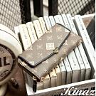 KINAZ 多隔層ㄇ型拉鍊LOGO長夾-深藍巴洛克-古典音樂系列-快