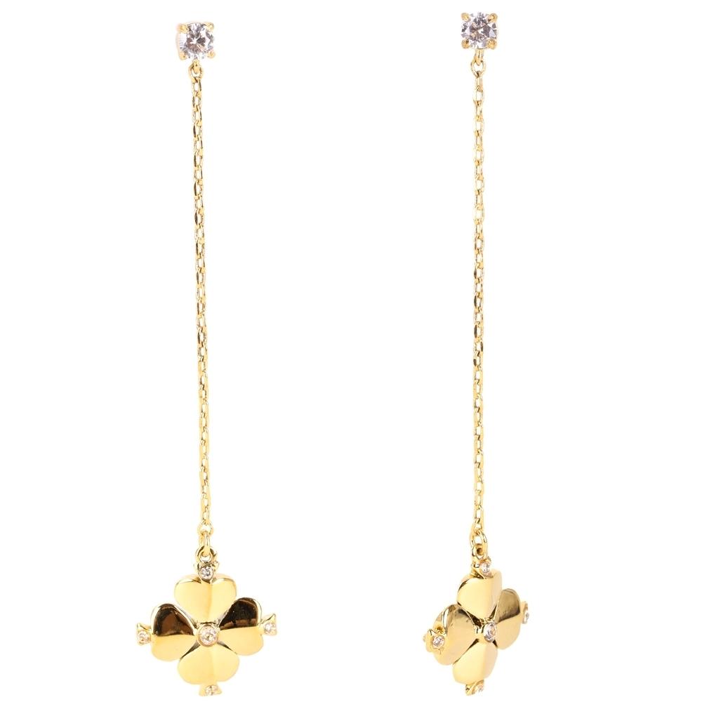 Kate Spade 鑲鑽四葉幸運草針式長耳環 (金色)