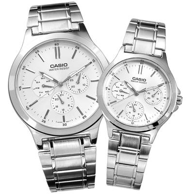 CASIO 卡西歐 三眼 星期日期 防水 不鏽鋼 情侶對錶-銀色/40mm+32mm