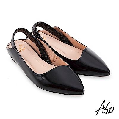 A.S.O時尚流行 健步美型個性後拉帶低跟穆勒鞋黑