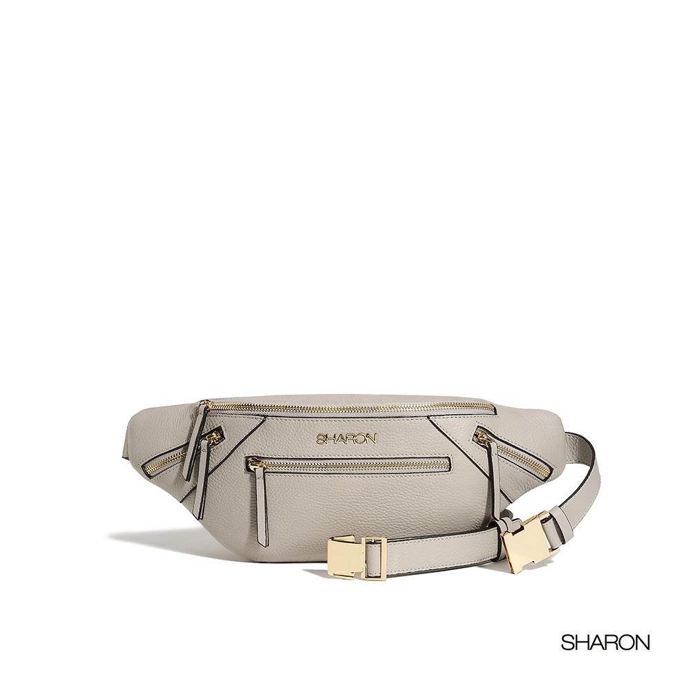 【SHARON 雪恩】頭層牛皮Billie多拉鍊插扣腰包(灰色33037GR)