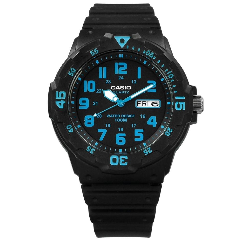 CASIO 卡西歐 運動風格橡膠手錶-藍x黑 MRW-200H-2B 43mm