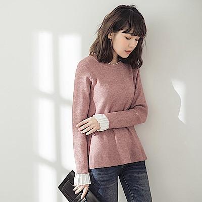 純色包芯紗拼接雪紡假兩件針織毛衣-OB大尺碼