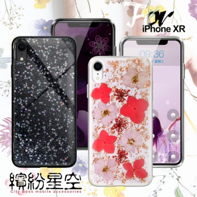 CITY BOSS for iPhone XR  繽紛星空防滑保護殼-玫瑰金飛燕 /星空
