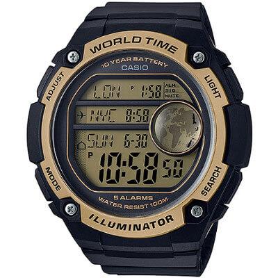 CASIO 世界地圖液晶螢幕數位腕錶-金(AE-3000W-9A)/55mm