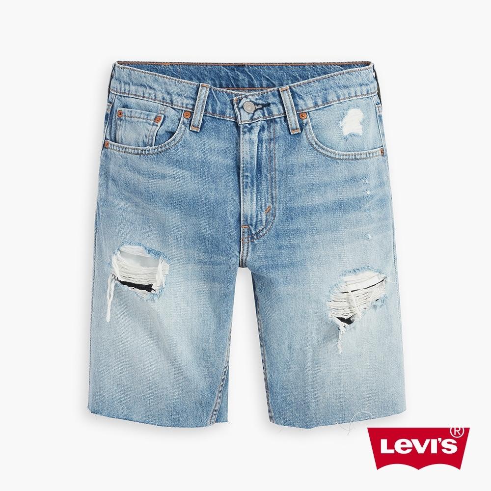 Levis 男款 412膝上牛仔短褲 / 修身窄管版型 / 精工貓鬚開口破壞 / 褲管不收邊