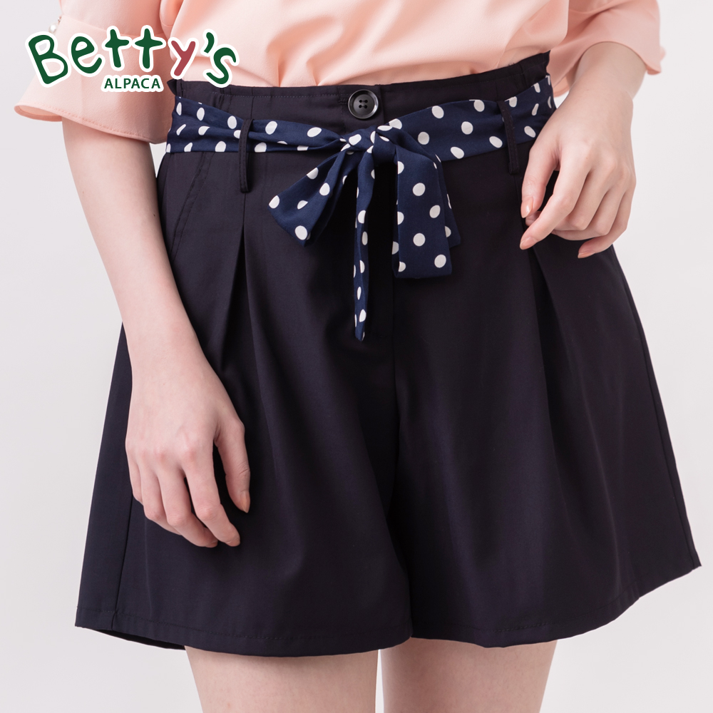 betty's貝蒂思 鬆緊腰打摺圓點綁帶短褲(藍黑色)