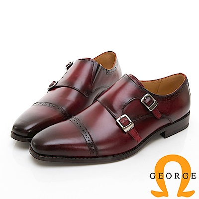 【Amber】商務時尚 雕花雙扣紳士孟克鞋-酒紅色