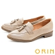ORIN 復古縫線造型真皮樂福 女 低跟鞋 灰色 product thumbnail 1