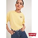 Levis 女款 短袖T恤 寬鬆中短版 高密度膠印Logo 美式復古風 洗舊黃